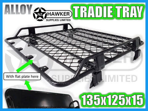 ROOF RACK TRADIE TRAY 135cm x 125cm ALLOY incl 15cm UNIVERSAL GUTTER MOUNTS! #12