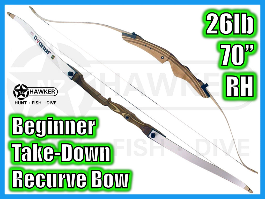 "BEGINNER TAKE DOWN RECURVE BOW 26LB 70"" RH  #12"
