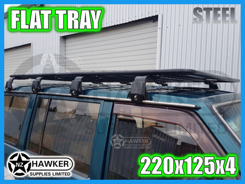ROOF RACK FLAT TRAY 220cm x 125cm STEEL incl 15cm UNIVERSAL GUTTER MOUNTS! #18