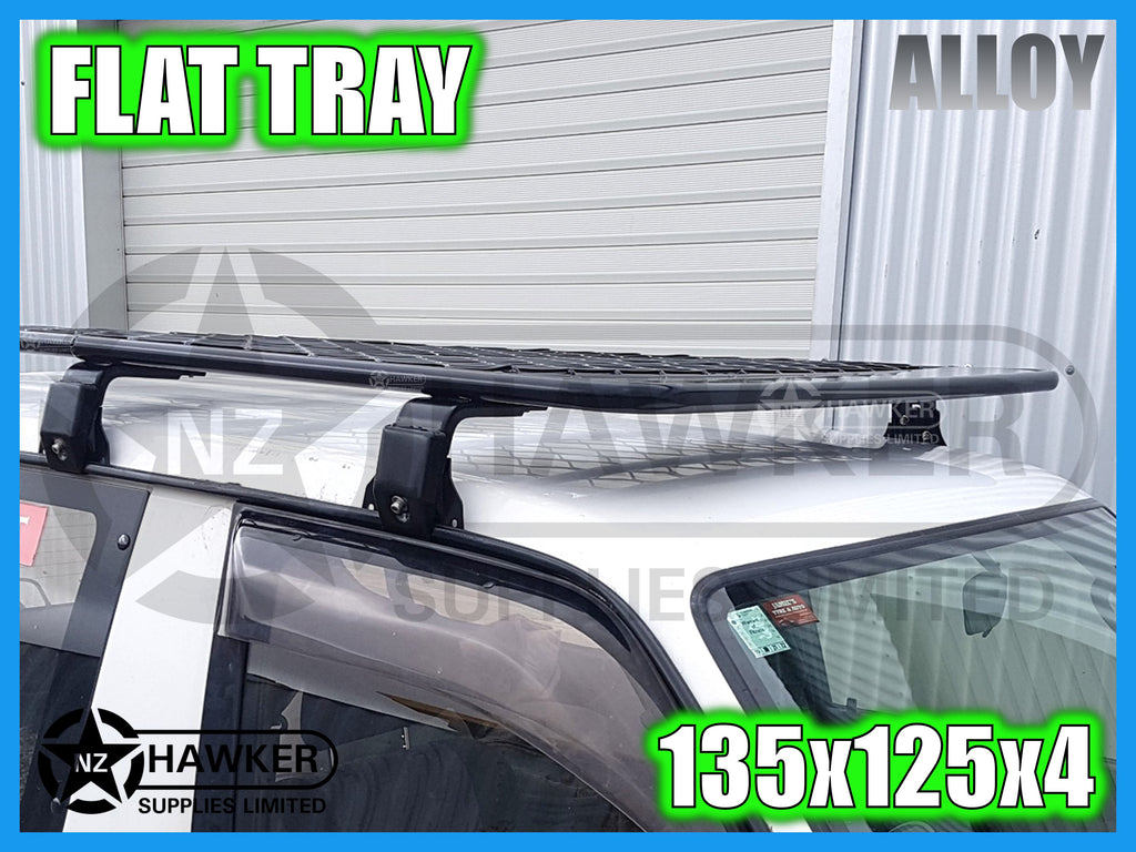 ROOF RACK FLAT TRAY 135cm x 125cm ALLOY incl 15cm UNIVERSAL GUTTER MOUNTS! #19