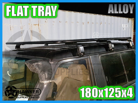 ROOF RACK FLAT TRAY 180cm x 125cm ALLOY incl 15cm UNIVERSAL GUTTER MOUNTS! #20