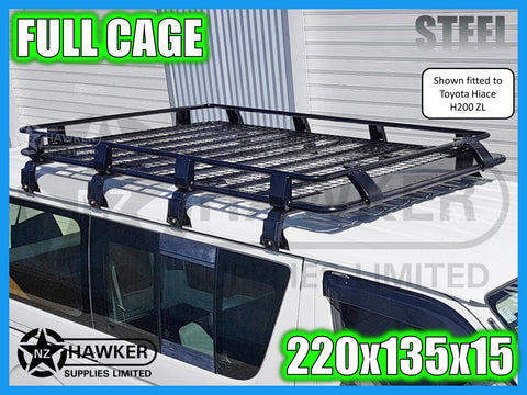 ROOF RACK CAGE TRAY 220cm x 135cm STEEL incl 15cm UNIVERSAL GUTTER MOUNTS! #25