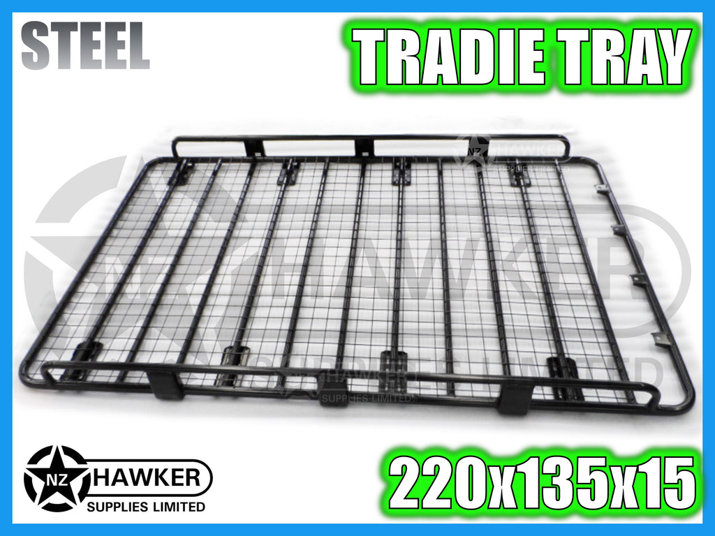 ROOF RACK TRADIE TRAY 220cm x 135cm STEEL incl 15cm UNIVERSAL GUTTER MOUNTS! #27