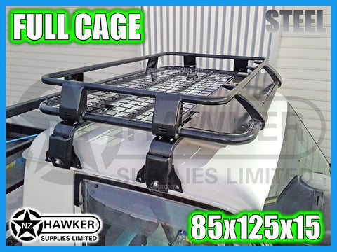ROOF RACK CAGE TRAY 85cm x 125cm STEEL incl 15cm UNIVERSAL GUTTER MOUNTS! #29
