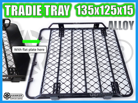 ROOF RACK TRADIE TRAY 135cm x 125cm ALLOY suit TOYOTA HILUX 25 SERIES D/CAB #34