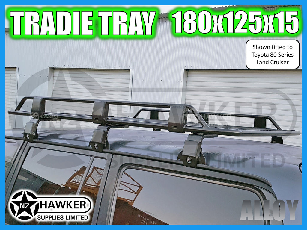 ROOF RACK TRADIE TRAY 180cm x 125cm ALLOY incl 15cm UNIVERSAL GUTTER MOUNTS! #35