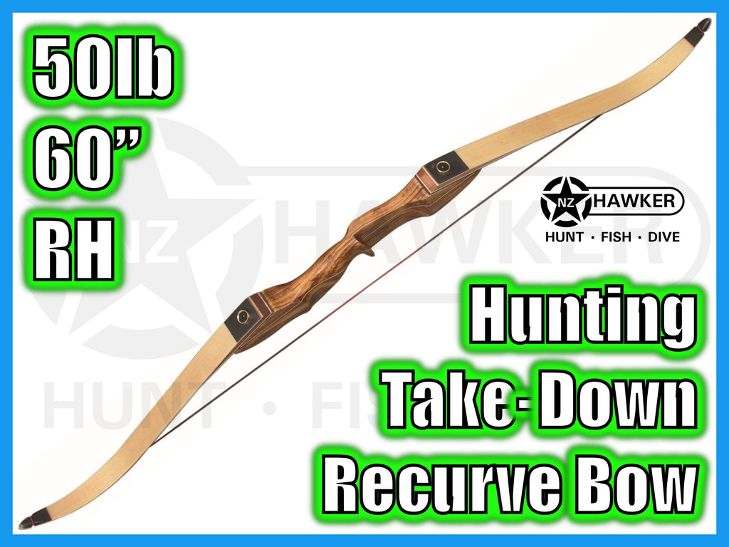 "HUNTING TAKE DOWN RECURVE BOW 60"" 50lb RH - DOC LEGAL #46"