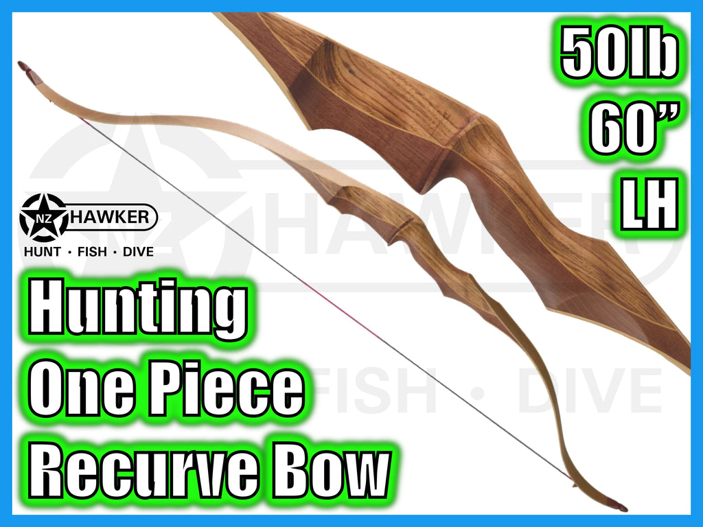 "HUNTING ONE-PIECE RECURVE BOW 60"" 50lb LH - DOC LEGAL #47"