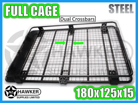 ROOF RACK CAGE TRAY 180cm x 125cm STEEL incl 15cm UNIVERSAL GUTTER MOUNTS! DC #49