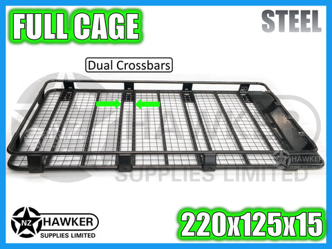 ROOF RACK CAGE TRAY 220cm x 125cm STEEL incl 15cm UNIVERSAL GUTTER MOUNTS! DC #50