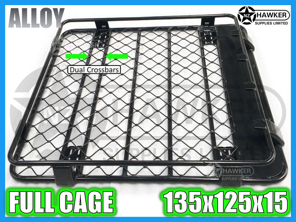 ROOF RACK CAGE TRAY 135cm x 125cm ALLOY incl 15cm UNIVERSAL GUTTER MOUNTS! DC #51