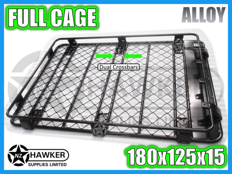 ROOF RACK CAGE TRAY 180cm x 125cm ALLOY incl 15cm UNIVERSAL GUTTER MOUNTS! DC #52