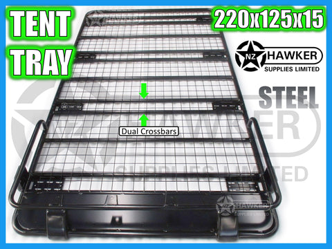 ROOF RACK TENT TRAY 220cm x 125cm STEEL incl 15cm UNIVERSAL GUTTER MOUNTS! DC #53