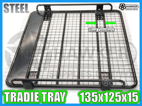 ROOF RACK TRADIE TRAY 135cm x 125cm STEEL incl 15cm UNIVERSAL GUTTER MOUNTS! DC #55