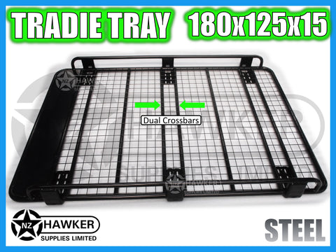 ROOF RACK TRADIE TRAY 180cm x 125cm STEEL incl 15cm UNIVERSAL GUTTER MOUNTS! DC #56