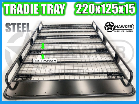 ROOF RACK TRADIE TRAY 220cm x 125cm STEEL incl 15cm UNIVERSAL GUTTER MOUNTS! DC #57