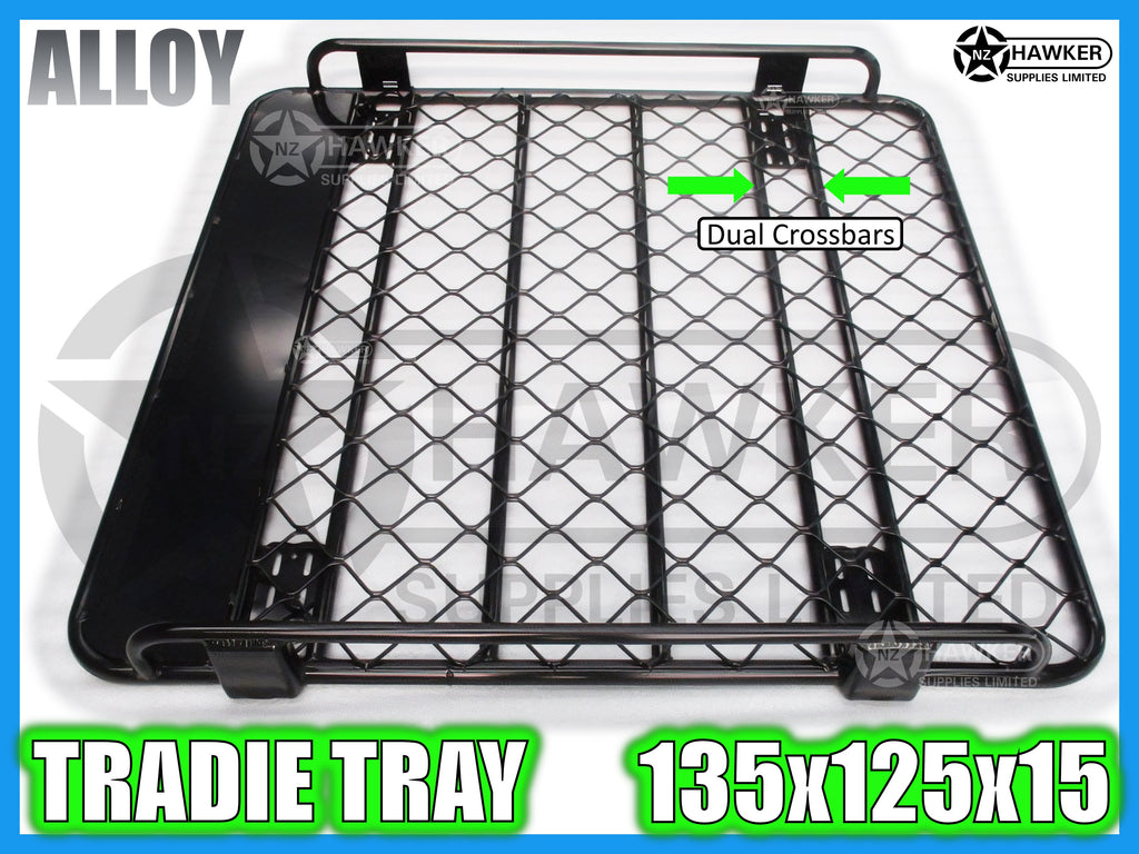 ROOF RACK TRADIE TRAY 135cm x 125cm ALLOY incl 15cm UNIVERSAL GUTTER MOUNTS! DC #58