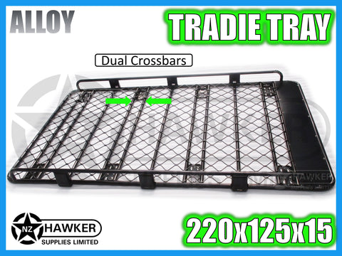 ROOF RACK TRADIE TRAY 220cm x 125cm ALLOY incl 15cm UNIVERSAL GUTTER MOUNTS! DC #59