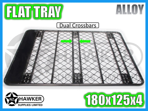ROOF RACK FLAT TRAY 180cm x 125cm ALLOY incl 15cm UNIVERSAL GUTTER MOUNTS! DC #61