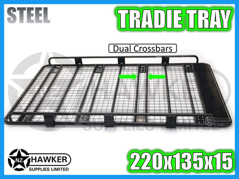ROOF RACK TRADIE TRAY 220cm x 135cm STEEL incl 15cm UNIVERSAL GUTTER MOUNTS! DC #63