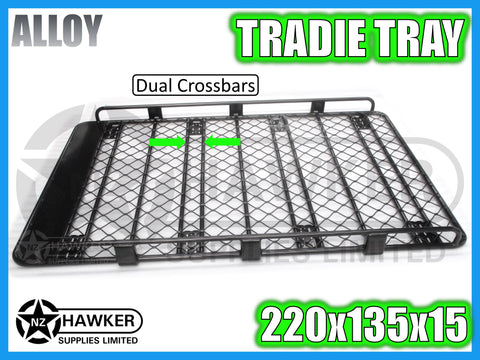 ROOF RACK TRADIE TRAY 220cm x 135cm ALLOY incl 15cm UNIVERSAL GUTTER MOUNTS! DC #64
