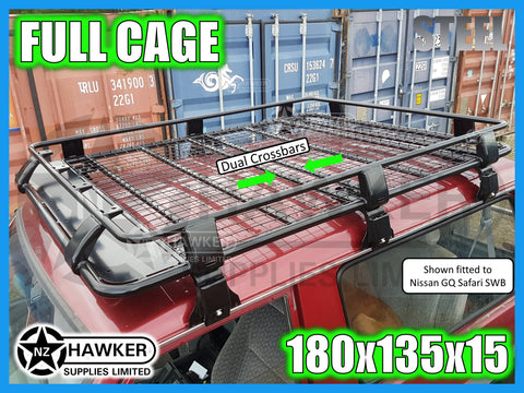 ROOF RACK CAGE TRAY 180cm x 135cm STEEL incl 15cm UNIVERSAL GUTTER MOUNTS! DC #65