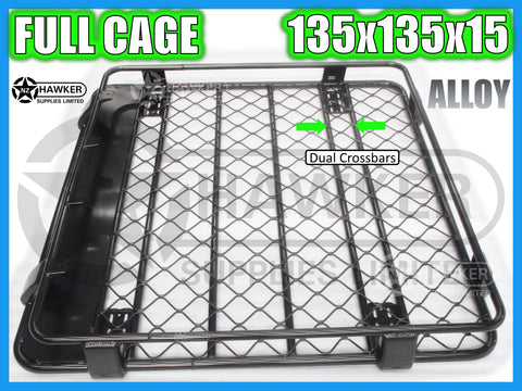 ROOF RACK CAGE TRAY 135cm x 135cm ALLOY incl 15cm UNIVERSAL GUTTER MOUNTS! DC #66