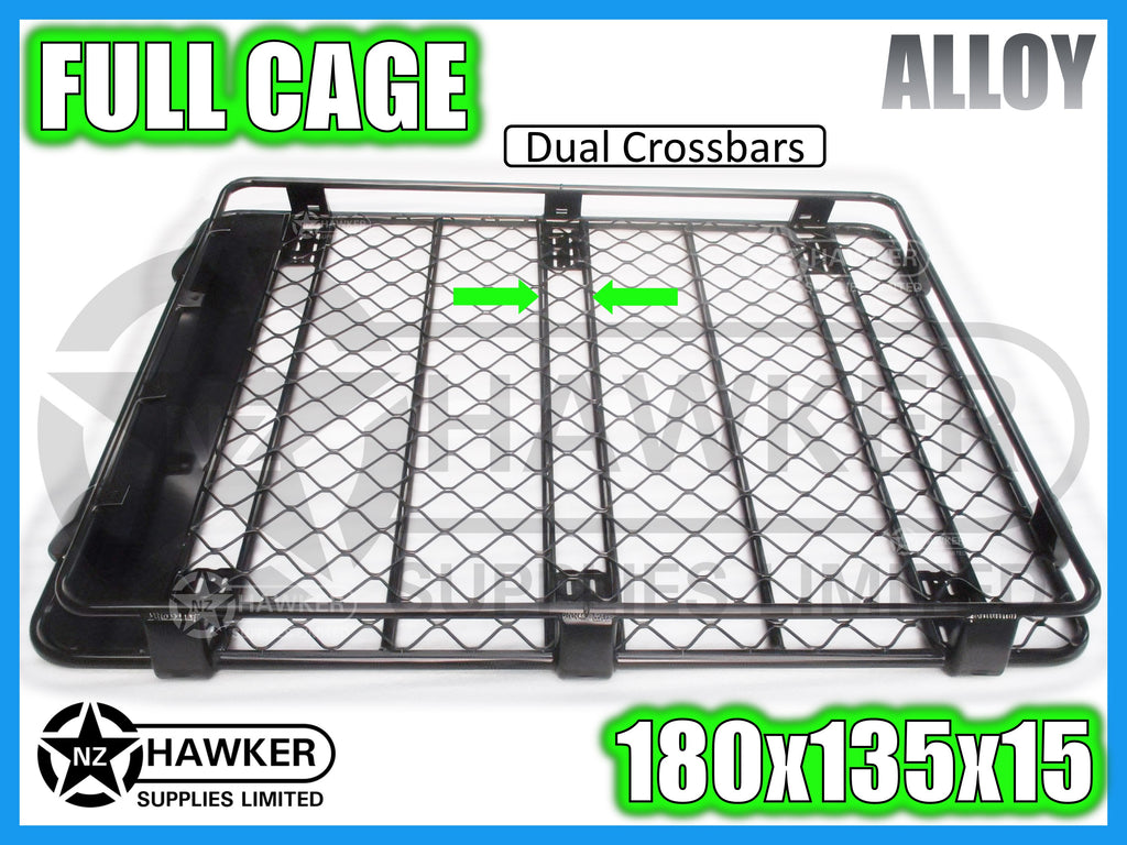 ROOF RACK CAGE TRAY 180cm x 135cm ALLOY incl 15cm UNIVERSAL GUTTER MOUNTS! DC #67