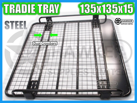 ROOF RACK TRADIE TRAY 135cm x 135cm STEEL incl 15cm UNIVERSAL GUTTER MOUNTS! DC #68