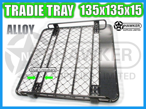ROOF RACK TRADIE TRAY 135cm x 135cm ALLOY incl 15cm UNIVERSAL GUTTER MOUNTS! DC #69