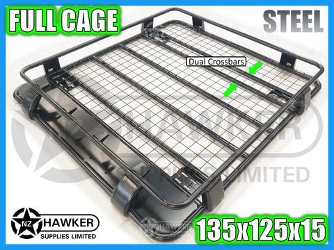 ROOF RACK CAGE TRAY 135cm x 125cm STEEL incl 15cm UNIVERSAL GUTTER MOUNTS! DC #70