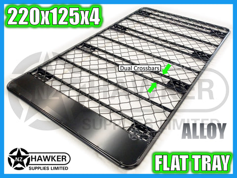 ROOF RACK FLAT TRAY 220cm x 125cm ALLOY incl 15cm UNIVERSAL GUTTER MOUNTS! DC #73