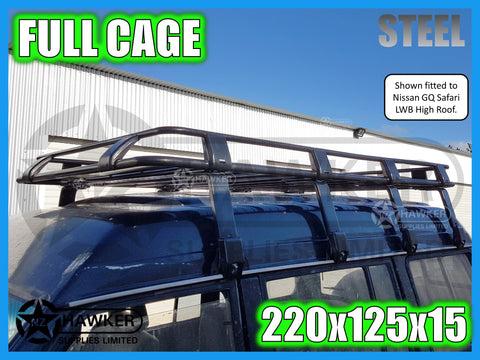ROOF RACK CAGE TRAY 220cm x 125cm STEEL incl 30cm UNIVERSAL GUTTER MOUNTS! DC #74