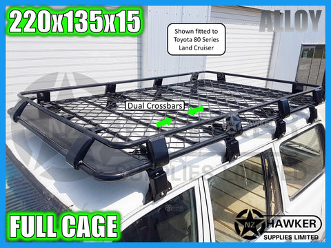 ROOF RACK CAGE TRAY 220cm x 135cm ALLOY incl 15cm UNIVERSAL GUTTER MOUNTS! DC #75