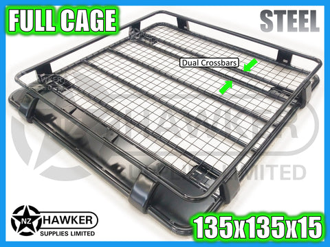 ROOF RACK CAGE TRAY 135cm x 135cm STEEL incl 15cm UNIVERSAL GUTTER MOUNTS! DC #78