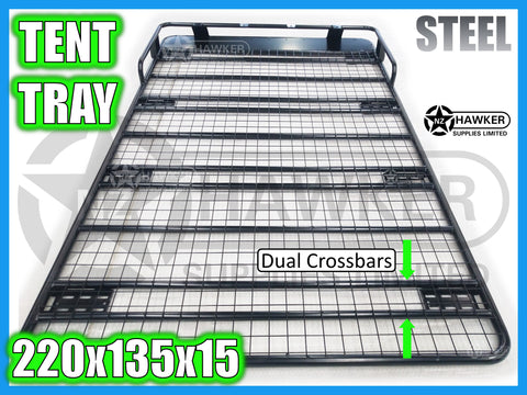 ROOF RACK TENT TRAY 220cm x 135cm STEEL incl 15cm UNIVERSAL GUTTER MOUNTS! DC #79