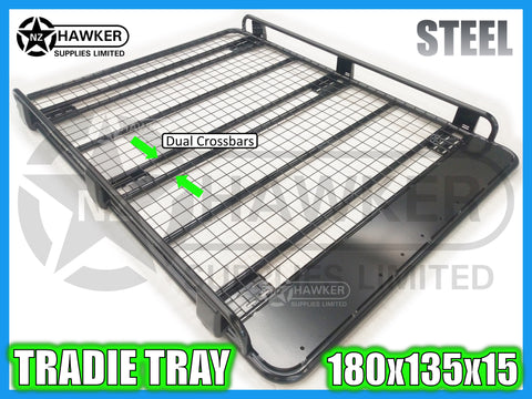 ROOF RACK TRADIE TRAY 180cm x 135cm STEEL incl 15cm UNIVERSAL GUTTER MOUNTS! DC #81