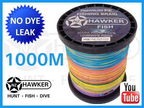 1000M HF FISHING BRAID MULTICOLOUR CHOOSE POUNDAGE