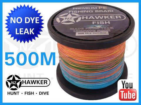 500M HF FISHING BRAID MULTICOLOUR CHOOSE POUNDAGE
