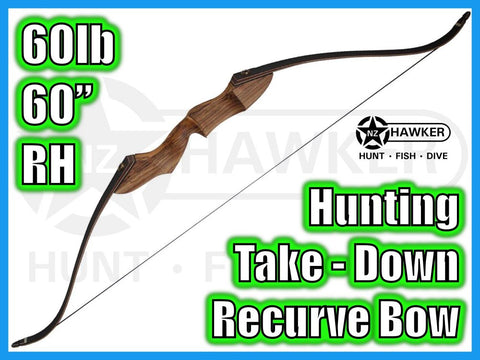 "HUNTING TAKE DOWN RECURVE BOW 60"" 60lb RH - DOC LEGAL #39"