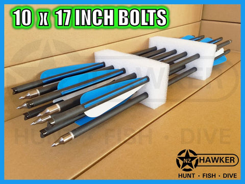"10 pack of 17"" CARBON CROSSBOW BOLTS - BULK BUY!!!"