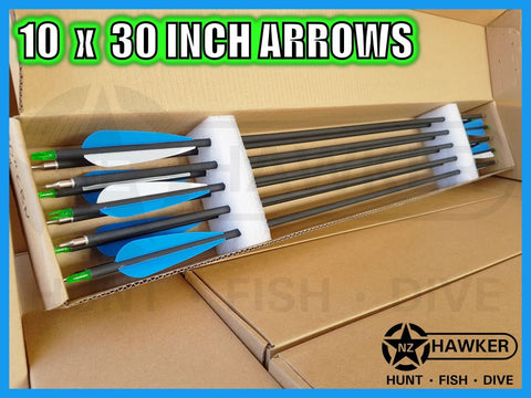 "10 pack of 30"" CARBON BOW ARROWS - BULK BUY!!!"