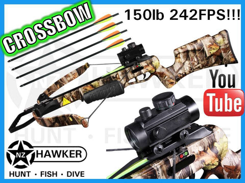 150LB CROSSBOW KIT 242FPS + R/G DOT SIGHT G1 CAMO!