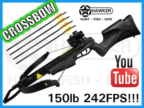 150LB CROSSBOW KIT 242FPS + R/G DOT SIGHT - BLACK!
