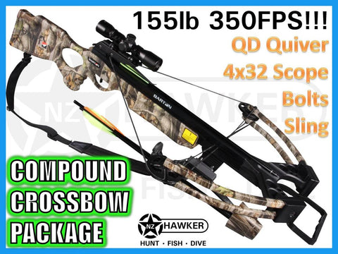 155LB 350FPS CROSSBOW KIT + QUIVER + 4x32 SCOPE + SLING + COCKING AID + 4 BOLTS!!!