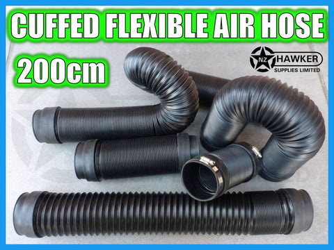 FLEXIBLE AIR HOSE CUFFED = 200CM + S/S HOSE CLAMPS!