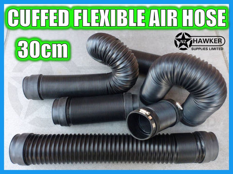 FLEXIBLE AIR HOSE CUFFED = 30CM + S/S HOSE CLAMPS!