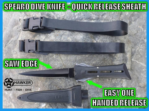 SPEARO DIVE KNIFE WITH SHEATH & STRAPS!!! QUICK RELEASE!!! 07