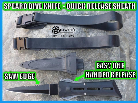 SPEARO DIVE KNIFE WITH SHEATH & STRAPS!!! QUICK RELEASE!!! 08