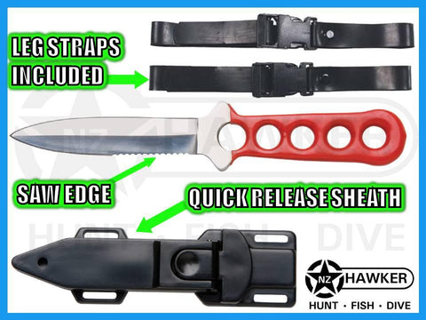 DIVE KNIFE WITH QUICK RELEASE SHEATH! & LEG STRAPS 06